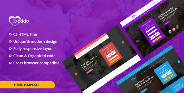 Deddo - Dating Offer Landing Page HTML Template