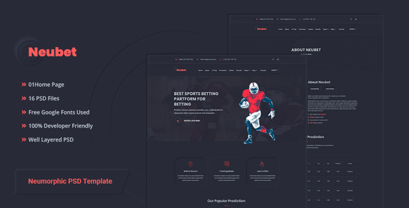 Nuebet - Neumorphic Sports Betting PSD Template