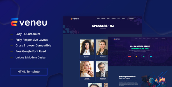 Eveneu - Neumorphic Seminer & Conference Template